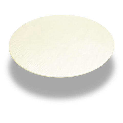 "Ivory 48"" Round Vinyl Fitted Tablecloth with Flannel Backing"