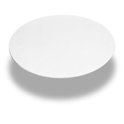 "White 60"" Round Vinyl Fitted Tablecloth with Flannel Backing"