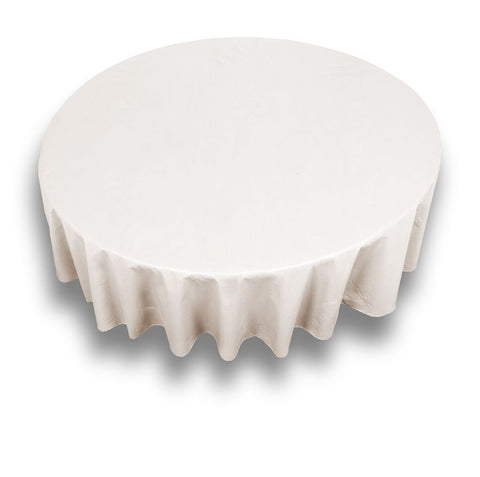 "Ivory 70"" Round Vinyl Tablecloth with Flannel Backing"