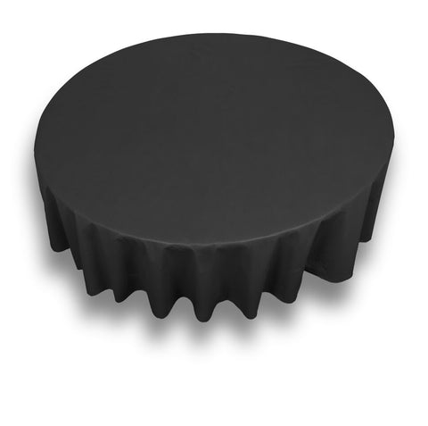 "Black 70"" Round Vinyl Tablecloth with Flannel Backing"
