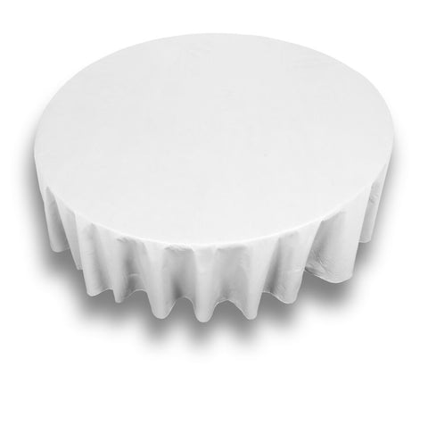 "White 70"" Round Vinyl Tablecloth with Flannel Backing"