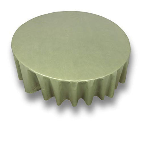 "Sage 70"" Round Vinyl Tablecloth with Flannel Backing"