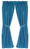 Light Blue Raised Diamond Design Fabric Window Curtain Panels with Tie-Backs