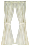 Ivory Raised Diamond Design Fabric Window Curtain with Tie-Backs