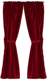 Burgundy Raised Diamond Design Fabric Window Curtain with Tie-Backs