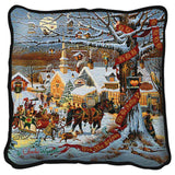 Small Town Christmas by Charles Wysocki Art Tapestry Pillow