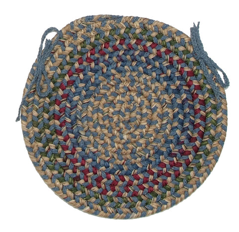 Twilight Round Braided Wool Blend Chair Pad, TL50 Federal Blue