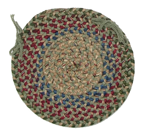 Twilight Round Braided Wool Blend Chair Pad, TL60 Palm