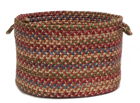 Twilight Round Braided Wool Blend Basket, TL70 Rosewood