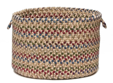 Twilight Round Braided Wool Blend Basket, TL90 Oatmeal