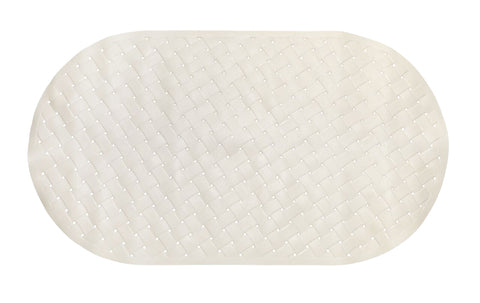 "Ivory Weave Look 15""x27"" PVC Vinyl Bath Tub Mat with Suction Cups"