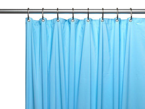 Light Blue 3-Gauge Vinyl Shower Curtain Liner with Metal Grommets and Magnets