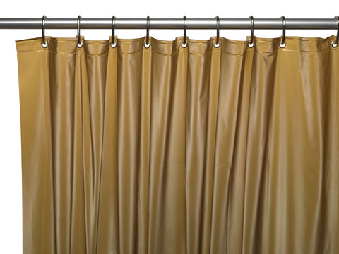 Gold 3-Gauge Vinyl Shower Curtain Liner with Metal Grommets and Magnets
