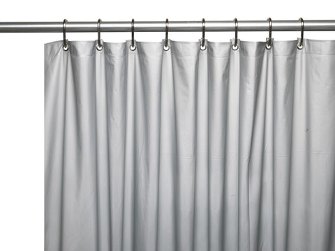 Silver 8 Gauge Extra Heavy Vinyl Shower Curtain Liner With Metal Grommets And Magnets