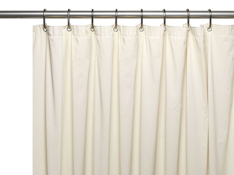 Bone 8-Gauge Extra Heavy Vinyl Shower Curtain Liner with Metal Grommets and Magnets