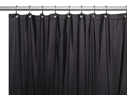 Black 8-Gauge Extra Heavy Vinyl Shower Curtain Liner with Metal Grommets and Magnets