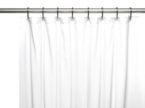 White 8-Gauge Extra Heavy Vinyl Shower Curtain Liner with Metal Grommets and Magnets