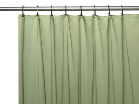 Sage Green 8-Gauge Extra Heavy Vinyl Shower Curtain Liner with Metal Grommets and Magnets