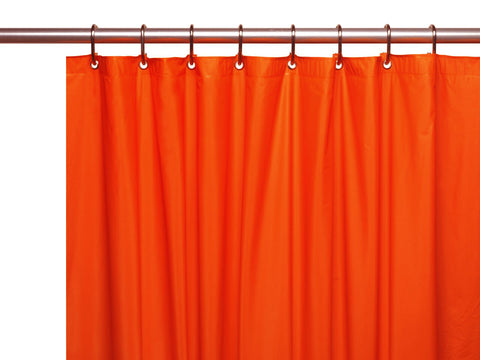 Orange 8-Gauge Extra Heavy Vinyl Shower Curtain Liner with Metal Grommets and Magnets