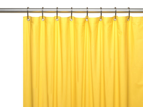 Canary Yellow 8-Gauge Extra Heavy Vinyl Shower Curtain Liner with Metal Grommets and Magnets