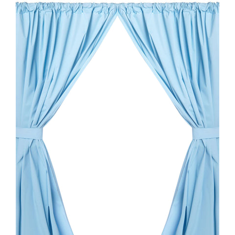 Light Blue 5-Gauge Vinyl Window Curtain Panels with Tie-Backs
