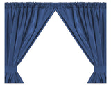 Navy Blue 5-Gauge Vinyl Window Curtain Panels with Tie-Backs