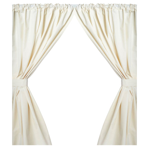 Bone 5-Gauge Vinyl Window Curtain Panels with Tie-Backs