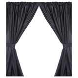 Black 5-Gauge Vinyl Window Curtain Panels with Tie-Backs