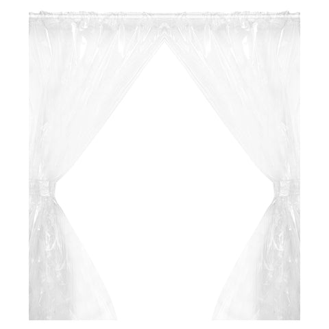 Super Clear 5-Gauge Vinyl Window Curtain Panels with Tie-Backs