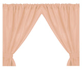 Peach 5-Gauge Vinyl Window Curtain Panels with Tie-Backs