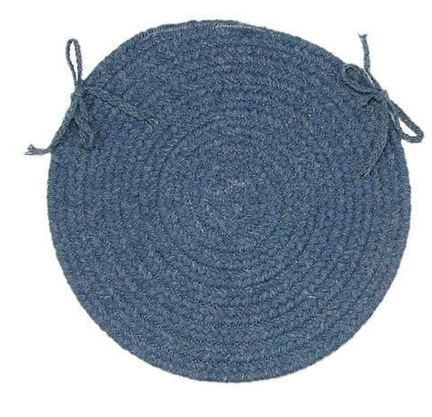 Bristol Round Braided Chair Pad, WL01 Federal Blue