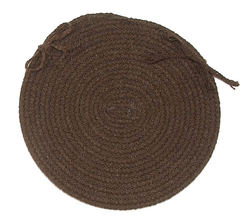 Bristol Round Braided Chair Pad, WL04 Dark Brown
