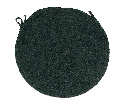 Bristol Round Braided Chair Pad, WL09 Dark Green
