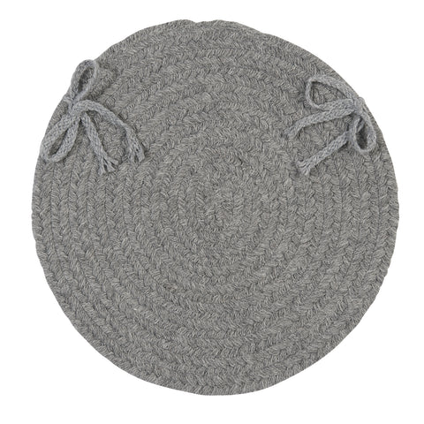 Bristol Round Braided Chair Pad, WL18 Gray