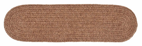 Bristol Oval Braided Stair Tread, WL45 Mocha Brown