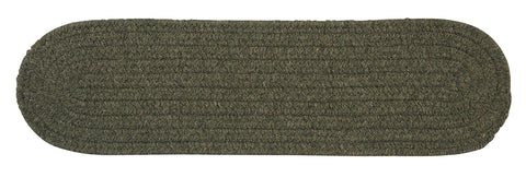 Bristol Oval Braided Stair Tread, WL55 Olive Green