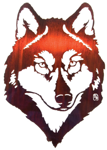 "18"" Wolf Portrait Metal Wall Art"