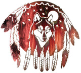 Wolf Shield Southwestern-Style Metal Wall Art