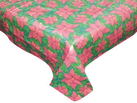 "Red Poinsettia Blooms Vinyl Tablecloth with Flannel Backing 70"" Round"