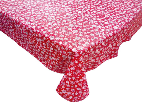 White Snowflakes on Red Background Vinyl Tablecloth with Flannel Backing in 2 Sizes