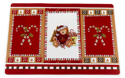 Christmas Candy Canes and Holiday Bear Vinyl Placemat with Non-Slip Foam Backing