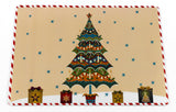 Christmas Tree and Presents Vinyl Placemat with Non-Slip Foam Backing