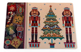 Nut Crackers and Christmas Tree Vinyl Placemat with Non-Slip Foam Backing