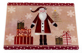 Folk Art Santa and Christmas Presents Vinyl Placemat with Non-Slip Foam Backing