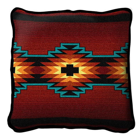 Southwest Geometric Deep Red Pillow