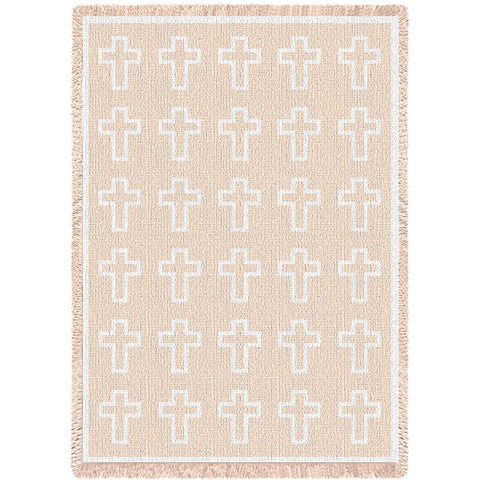 Cross White Natural Blanket