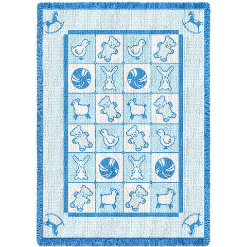 Baby Icons Blue Small Blanket