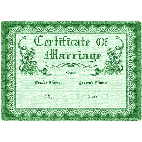 Certificate Of Marriage Green Small Blanket
