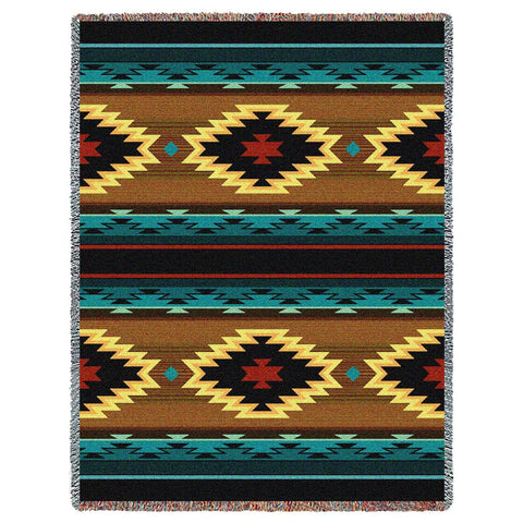 Southwest Geometric Turquoise Tapestry Throw