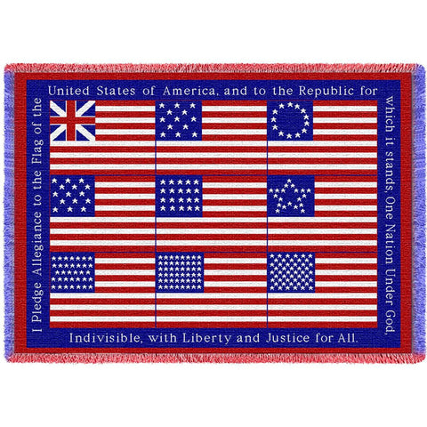 United States Flags with Pledge of Allegiance Blanket